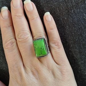 💥Weekend Sale!!! Green stone ring with engraving